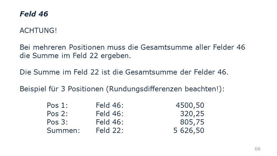Feld 46 ACHTUNG! Bei mehreren Positionen muss die Gesamtsumme aller Felder 46 die Summe im Feld 22 ergeben.