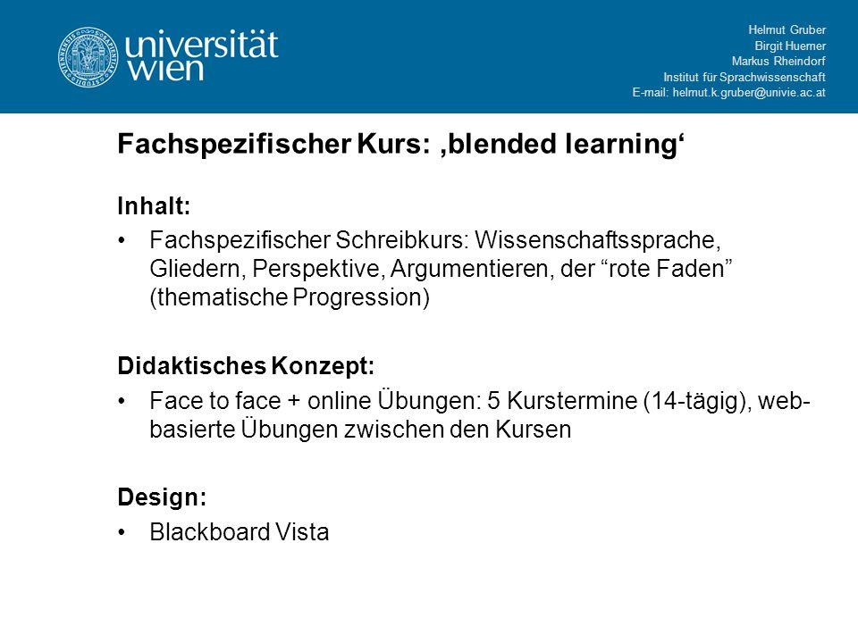 Fachspezifischer Kurs: 'blended learning'