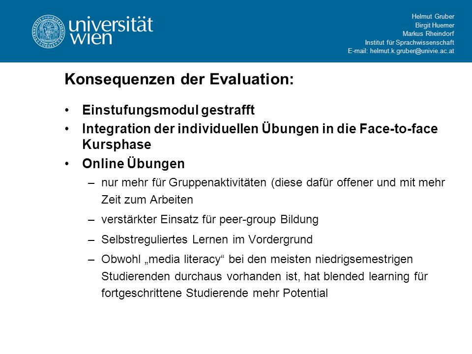 Konsequenzen der Evaluation: