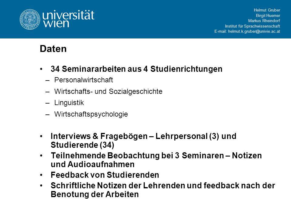 Daten 34 Seminararbeiten aus 4 Studienrichtungen