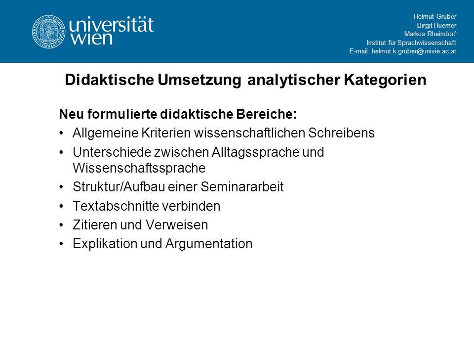 Didaktische Umsetzung analytischer Kategorien
