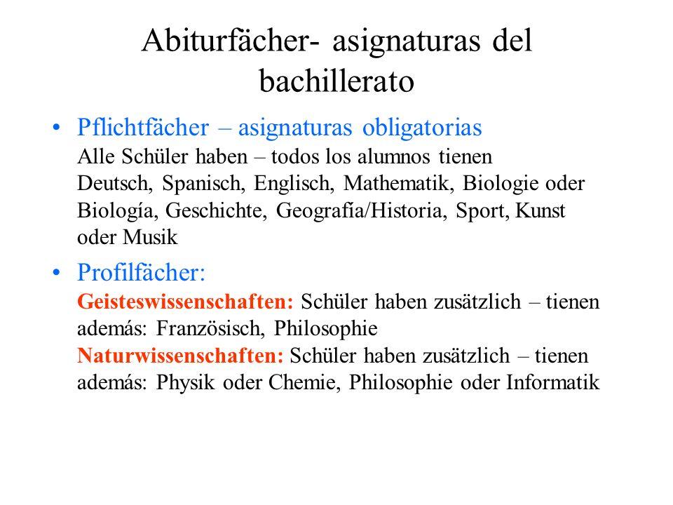 Abiturfächer- asignaturas del bachillerato