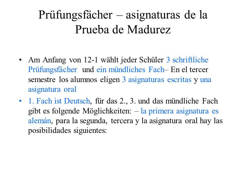 Prüfungsfächer – asignaturas de la Prueba de Madurez