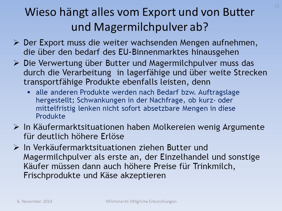 Wieso hängt alles vom Export und von Butter und Magermilchpulver ab