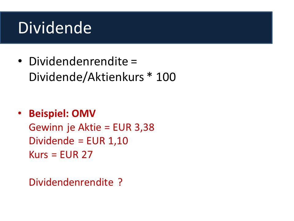 Dividende Dividendenrendite = Dividende/Aktienkurs * 100