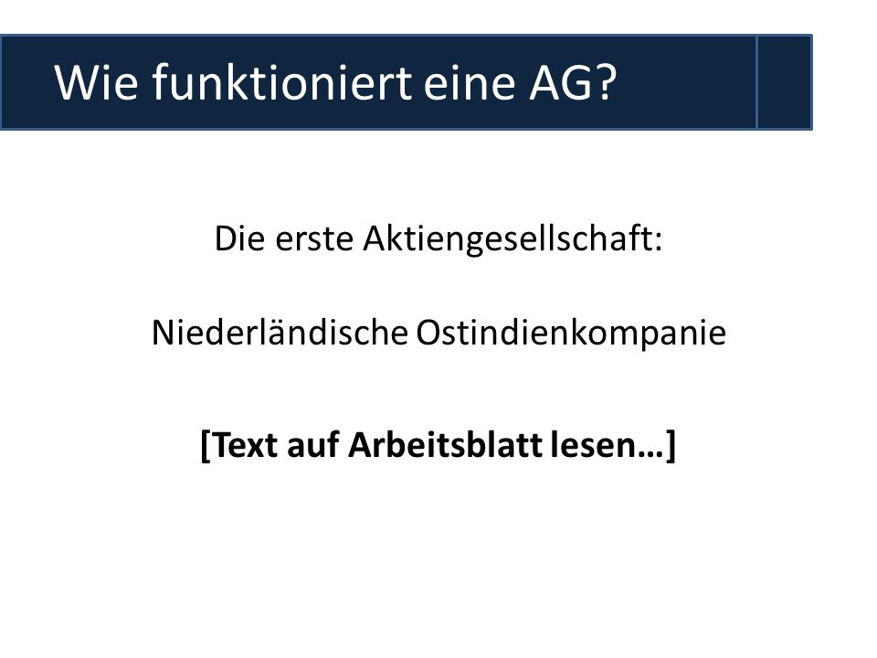Wie funktioniert eine AG
