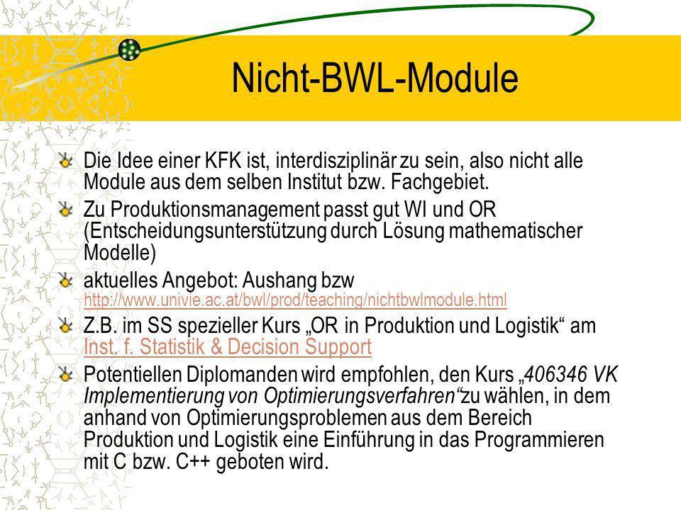 Nicht-BWL-Module Die Idee einer KFK ist, interdisziplinär zu sein, also nicht alle Module aus dem selben Institut bzw. Fachgebiet.