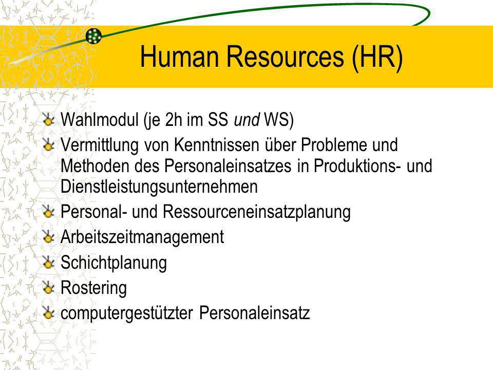 Human Resources (HR) Wahlmodul (je 2h im SS und WS)