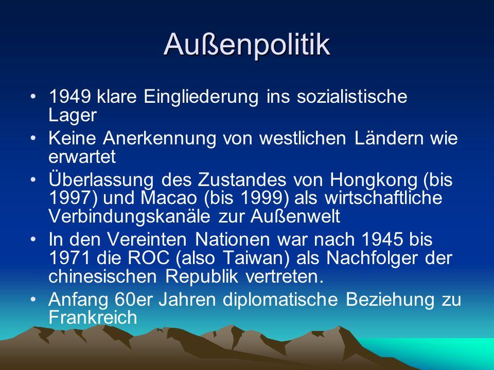Außenpolitik 1949 klare Eingliederung ins sozialistische Lager