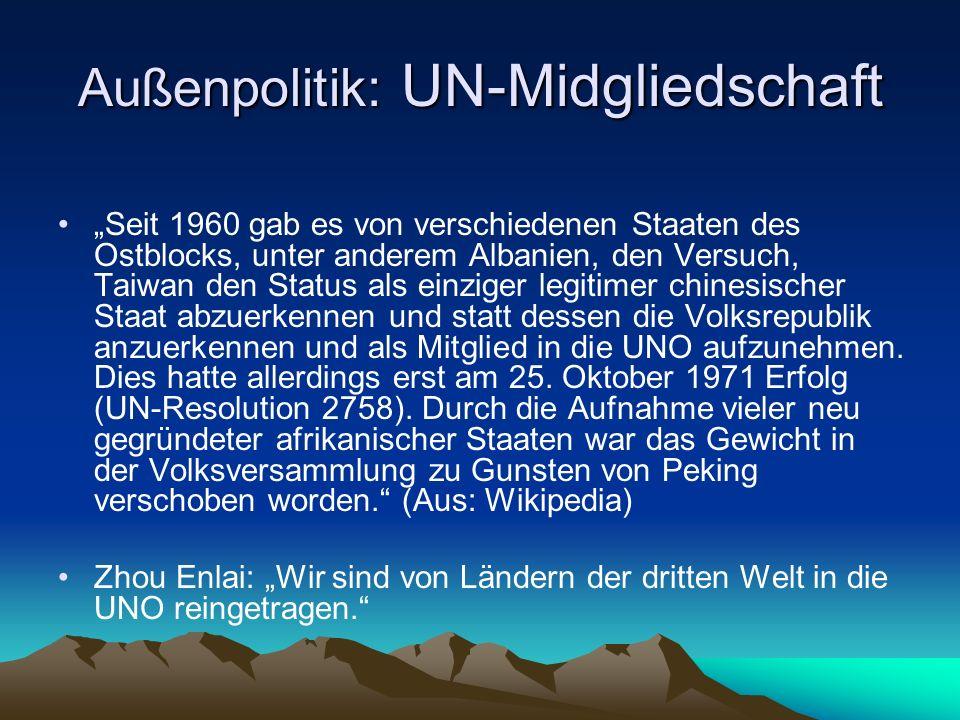 Außenpolitik: UN-Midgliedschaft