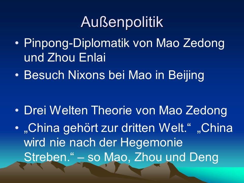 Außenpolitik Pinpong-Diplomatik von Mao Zedong und Zhou Enlai