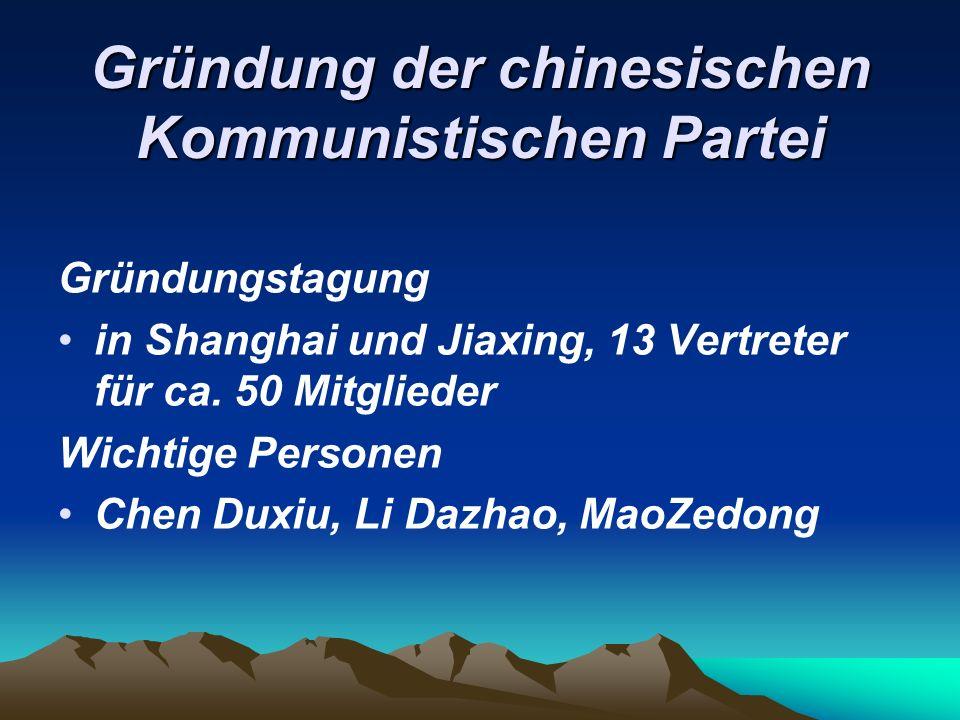 Gründung der chinesischen Kommunistischen Partei