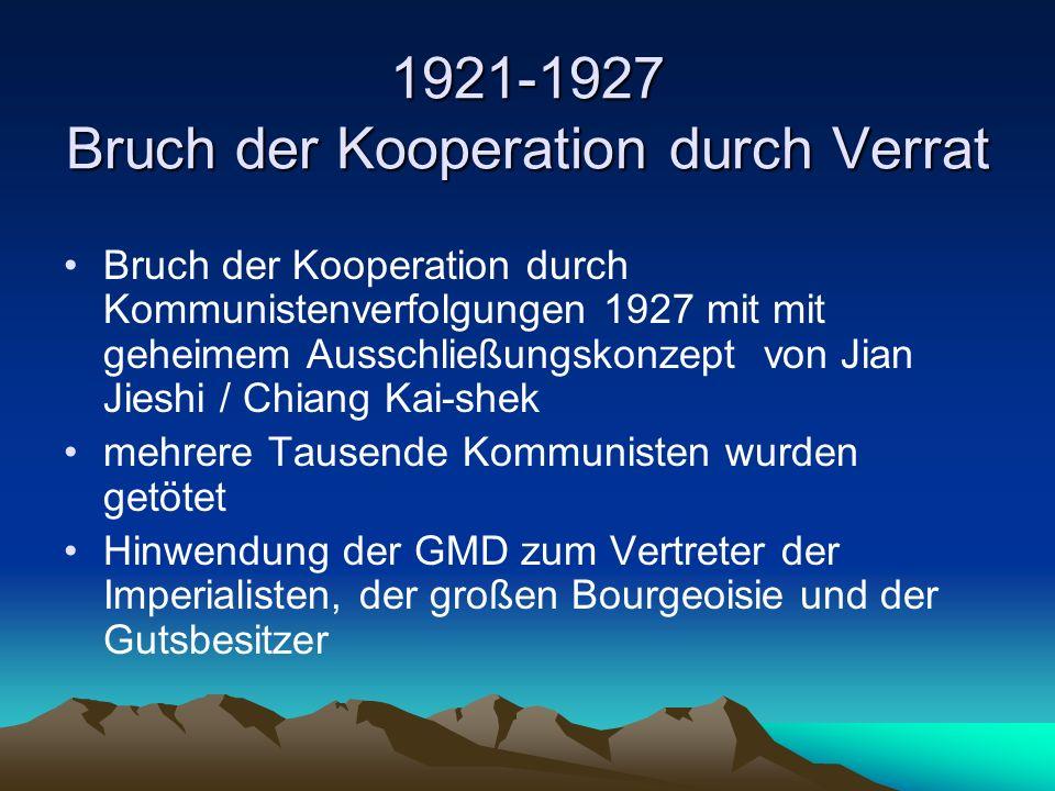1921-1927 Bruch der Kooperation durch Verrat