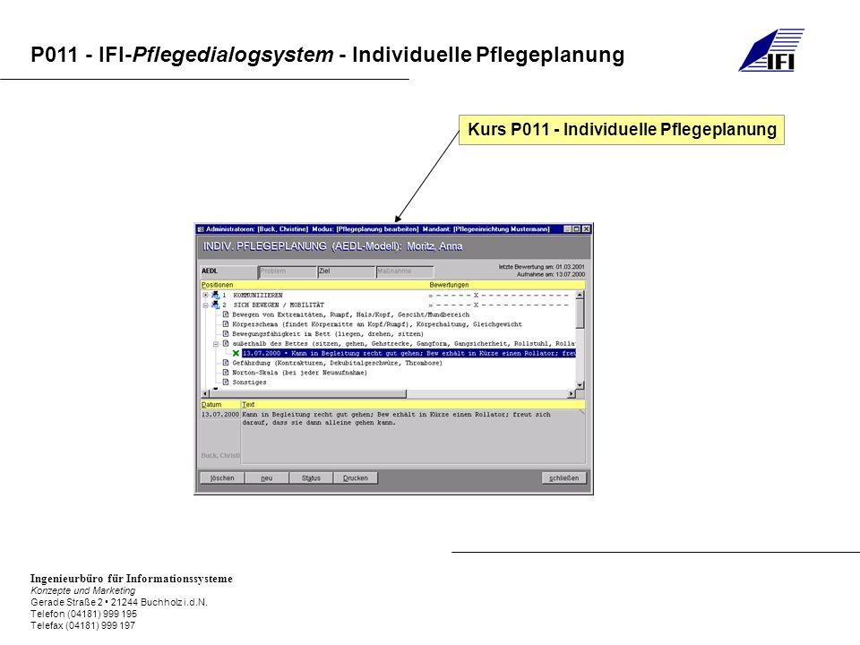Kurs P011 - Individuelle Pflegeplanung