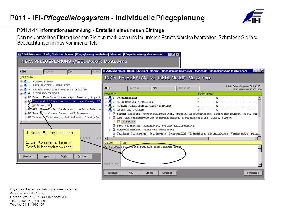 P011.1-11 Informationssammlung - Erstellen eines neuen Eintrags