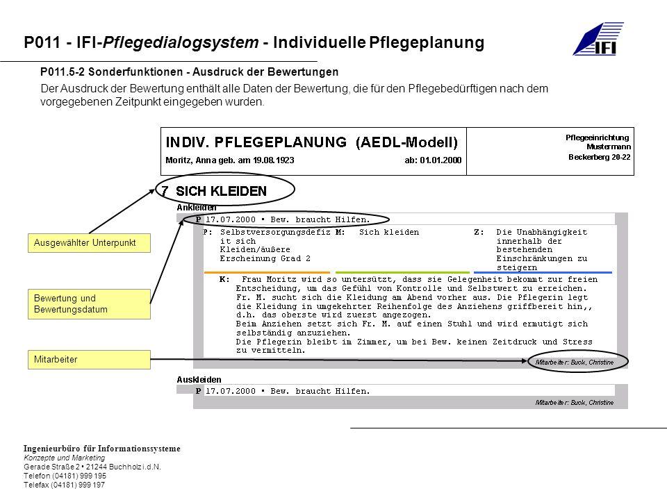P011.5-2 Sonderfunktionen - Ausdruck der Bewertungen