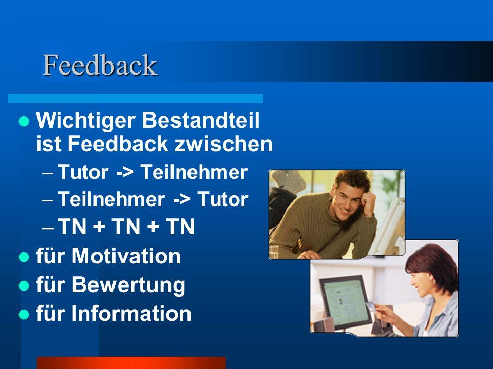 Feedback Wichtiger Bestandteil ist Feedback zwischen TN + TN + TN