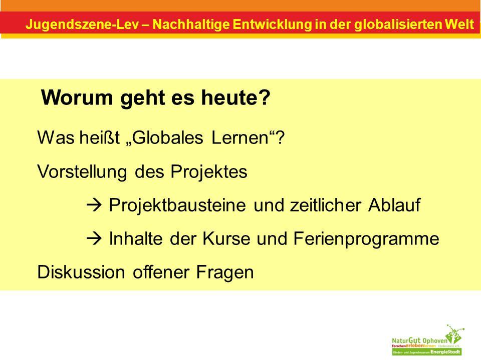 """Worum geht es heute Was heißt """"Globales Lernen"""