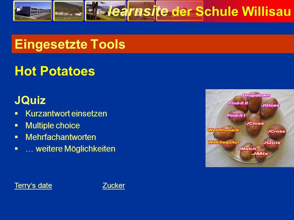 Eingesetzte Tools Hot Potatoes JQuiz Kurzantwort einsetzen