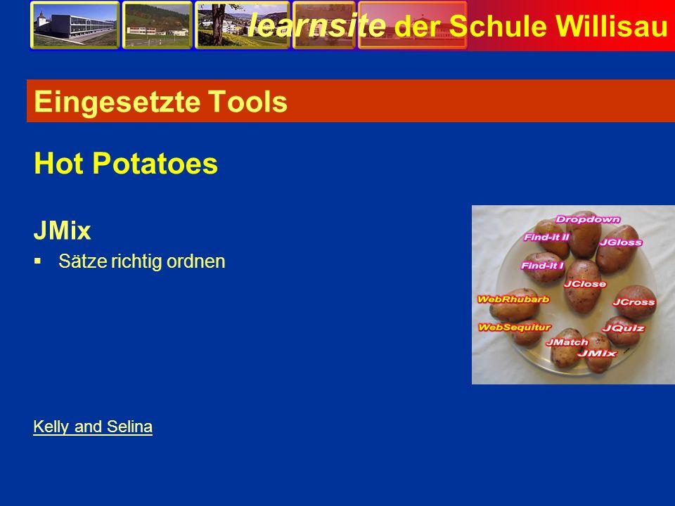 Eingesetzte Tools Hot Potatoes JMix Sätze richtig ordnen Bild