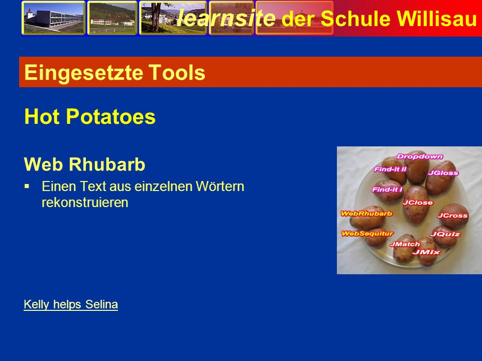 Eingesetzte Tools Hot Potatoes Web Rhubarb