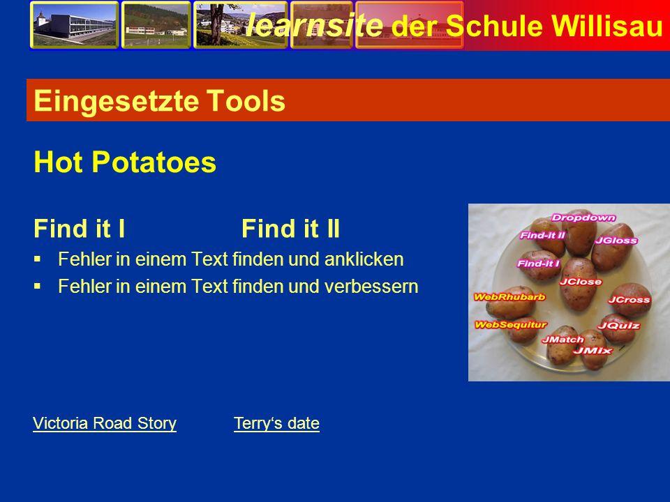 Eingesetzte Tools Hot Potatoes Find it I Find it II