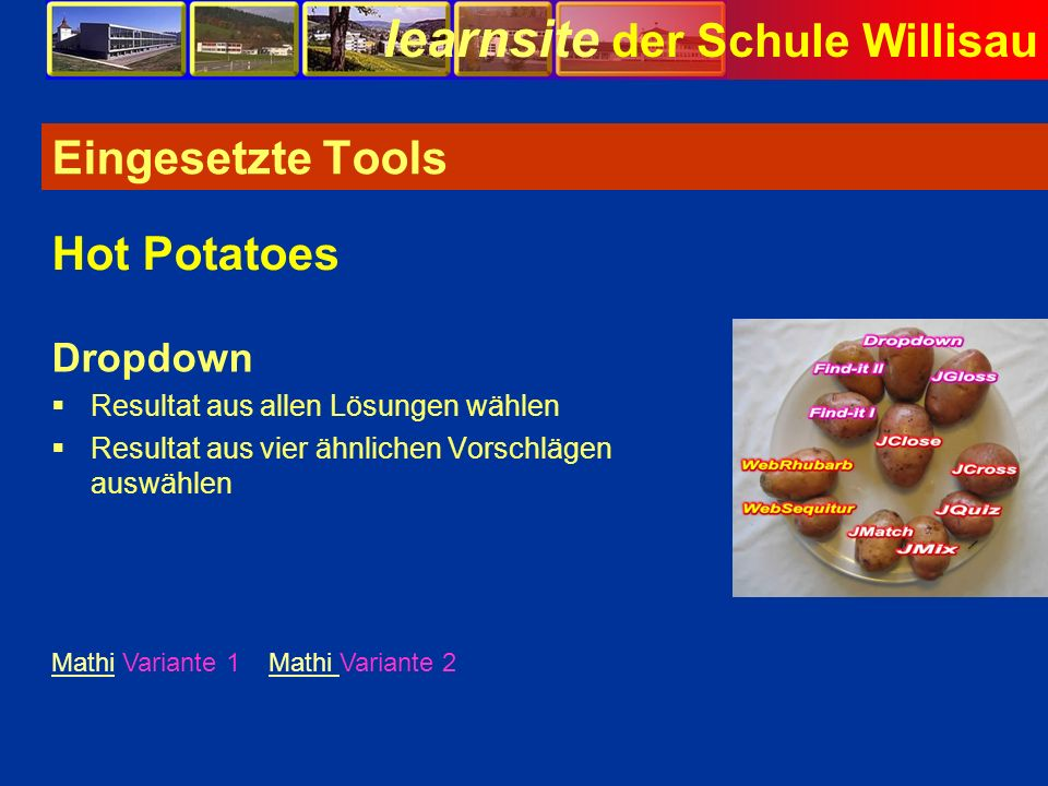 Eingesetzte Tools Hot Potatoes Dropdown