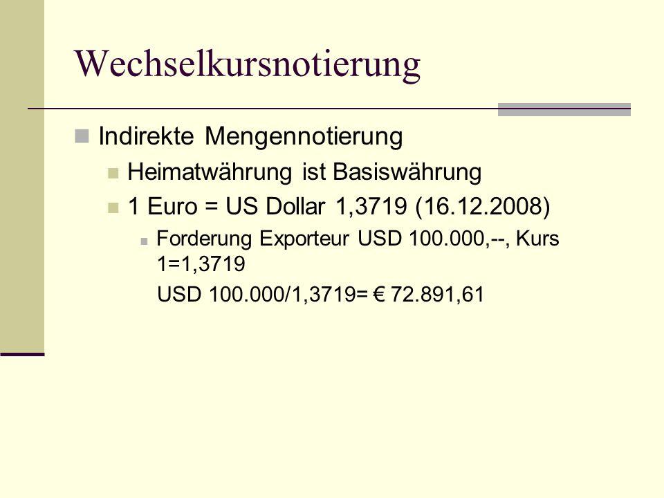 Wechselkursnotierung