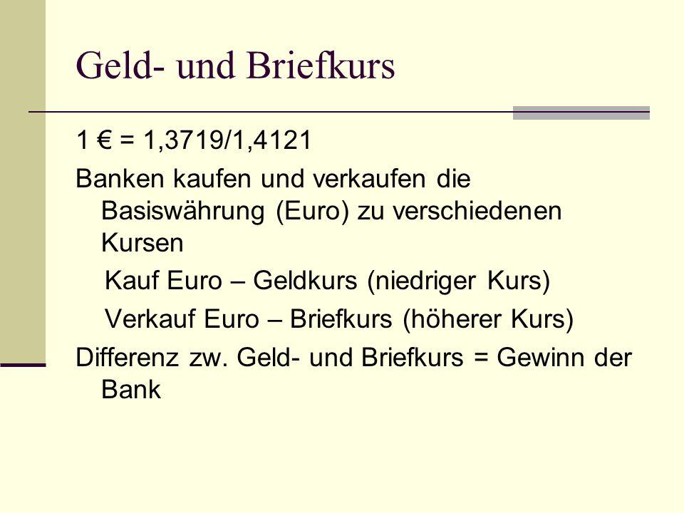 Geld- und Briefkurs 1 € = 1,3719/1,4121