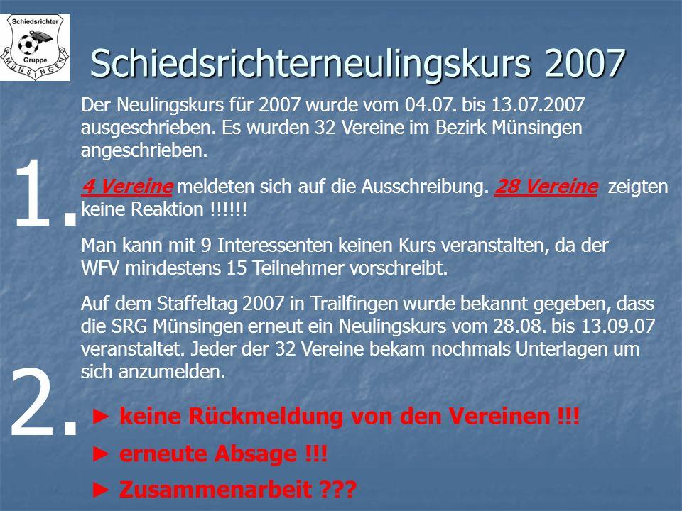 Schiedsrichterneulingskurs 2007