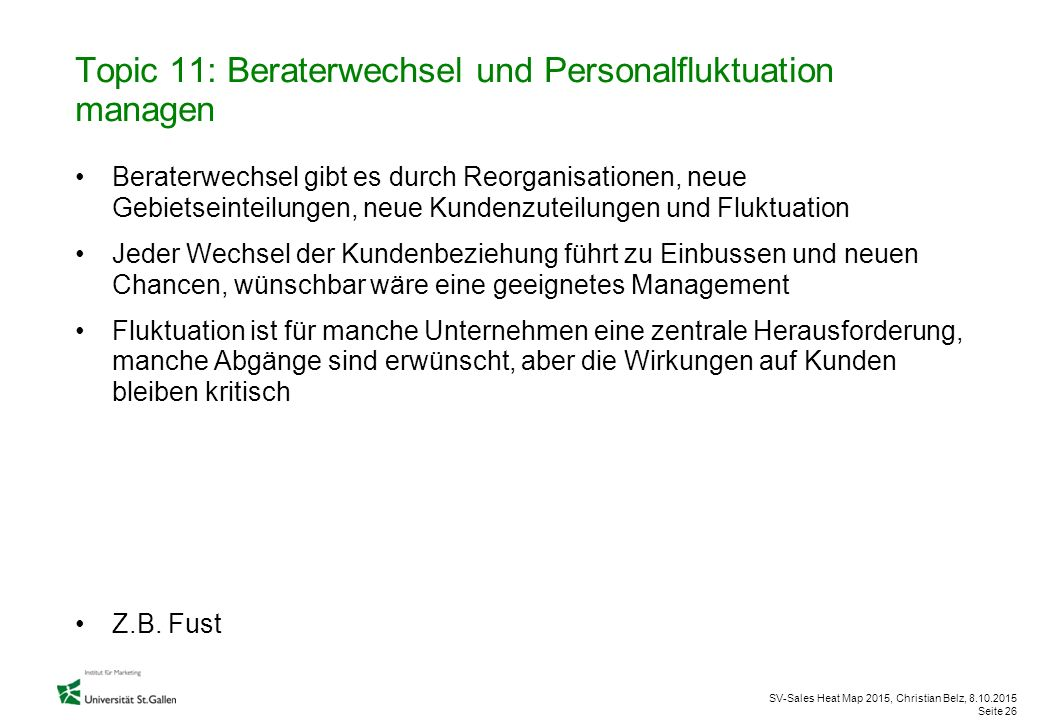 Topic 11: Beraterwechsel und Personalfluktuation managen