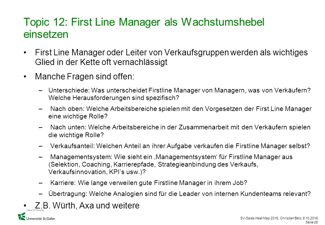 Topic 12: First Line Manager als Wachstumshebel einsetzen