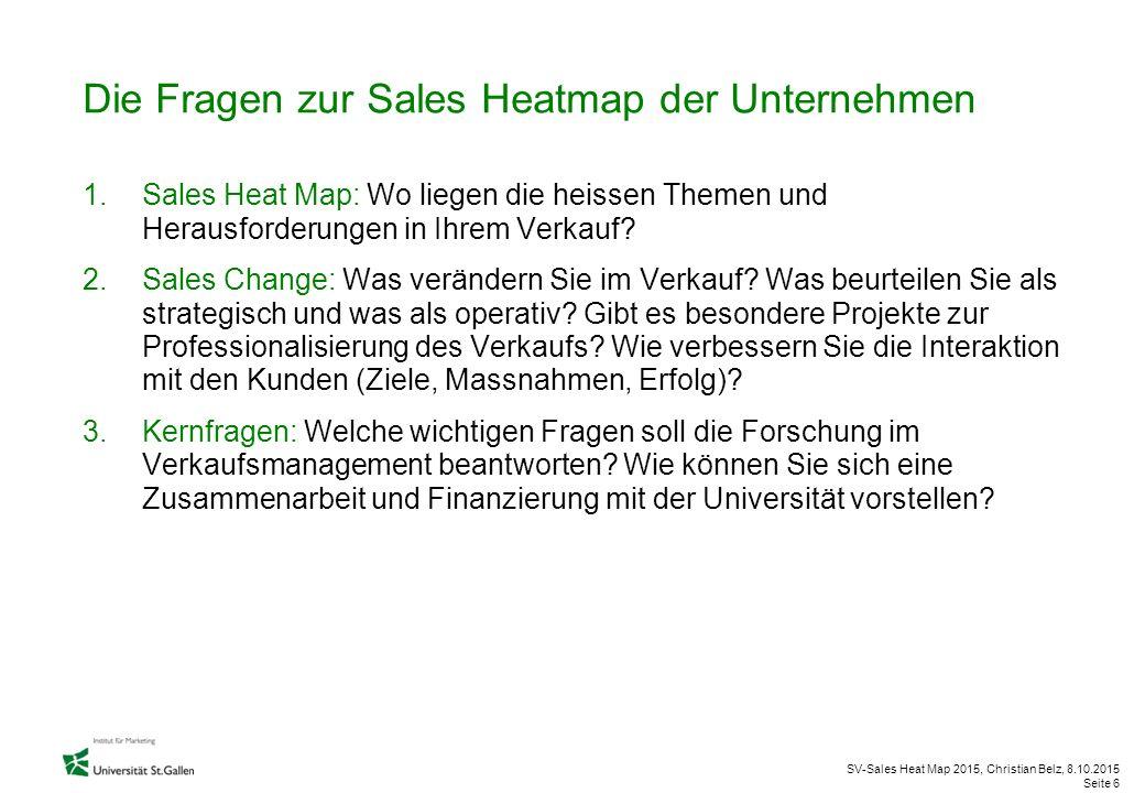 Die Fragen zur Sales Heatmap der Unternehmen