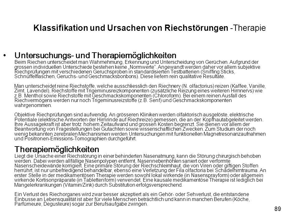 Klassifikation und Ursachen von Riechstörungen -Therapie