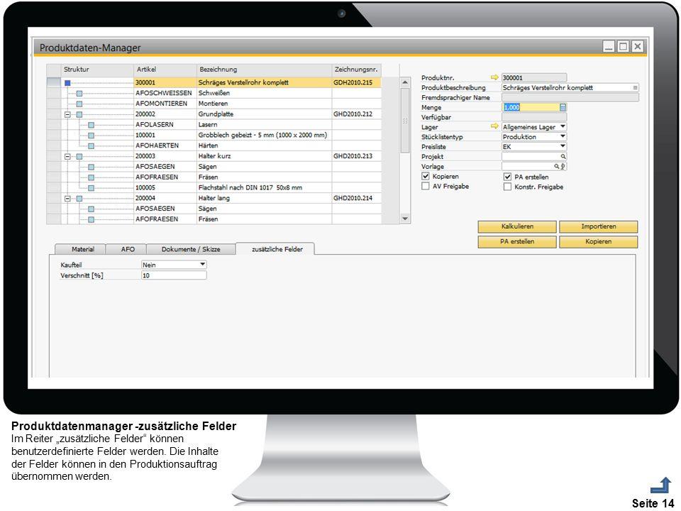 Produktdatenmanager -zusätzliche Felder