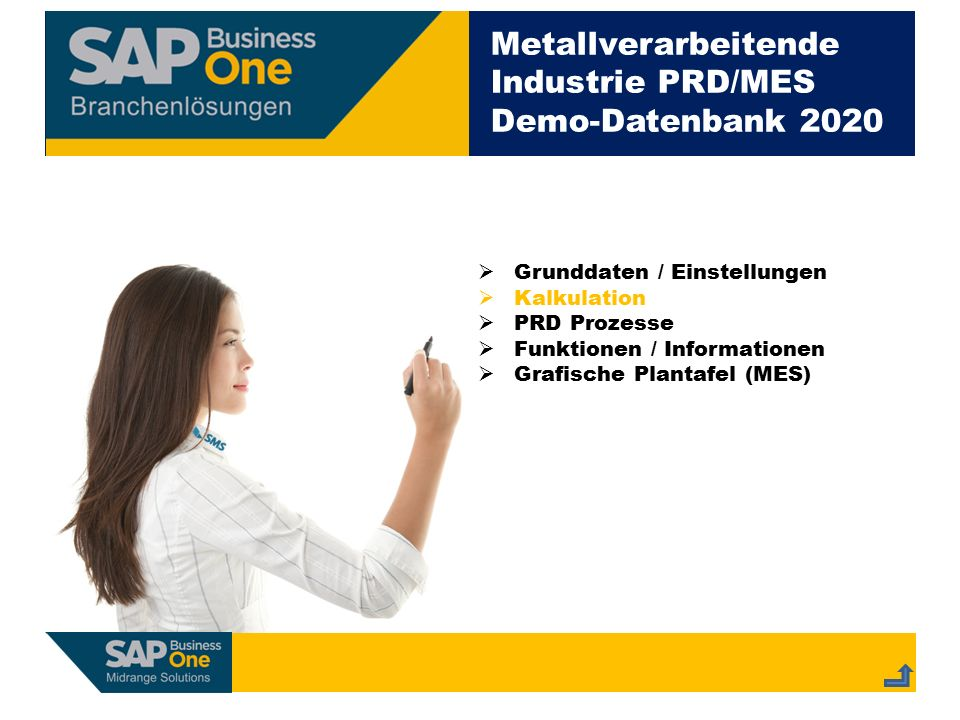 Metallverarbeitende Industrie PRD/MES Demo-Datenbank 2020