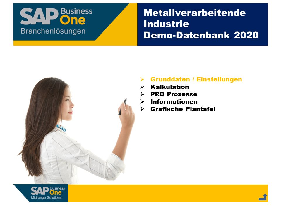 Metallverarbeitende Industrie Demo-Datenbank 2020