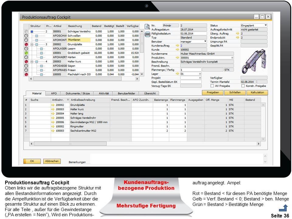 Produktionsauftrag Cockpit Kundenauftrags-bezogene Produktion