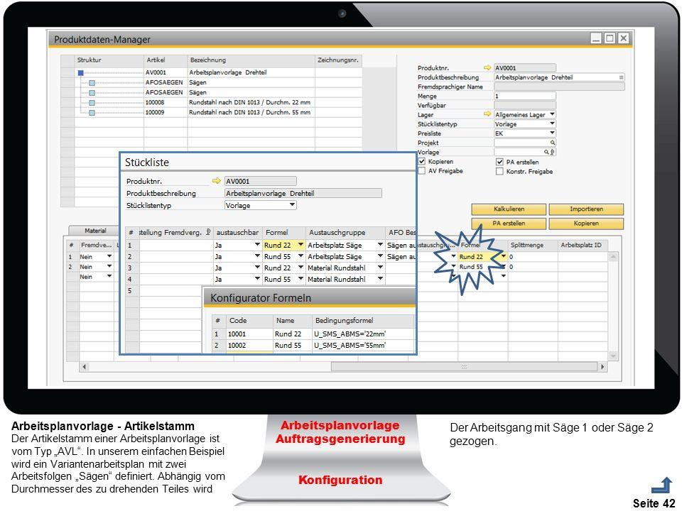 Arbeitsplanvorlage - Artikelstamm Arbeitsplanvorlage