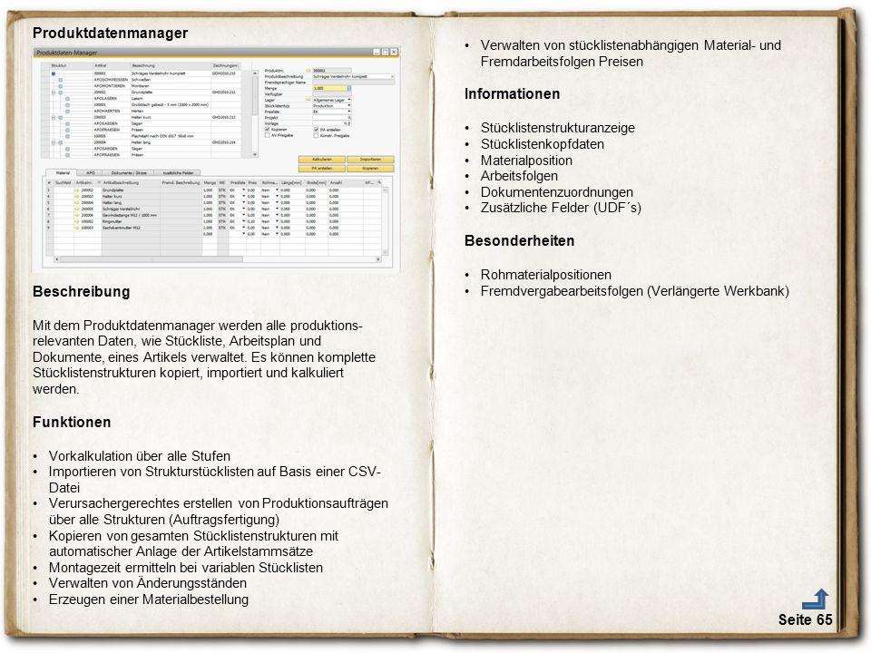 Produktdatenmanager Informationen Besonderheiten Beschreibung