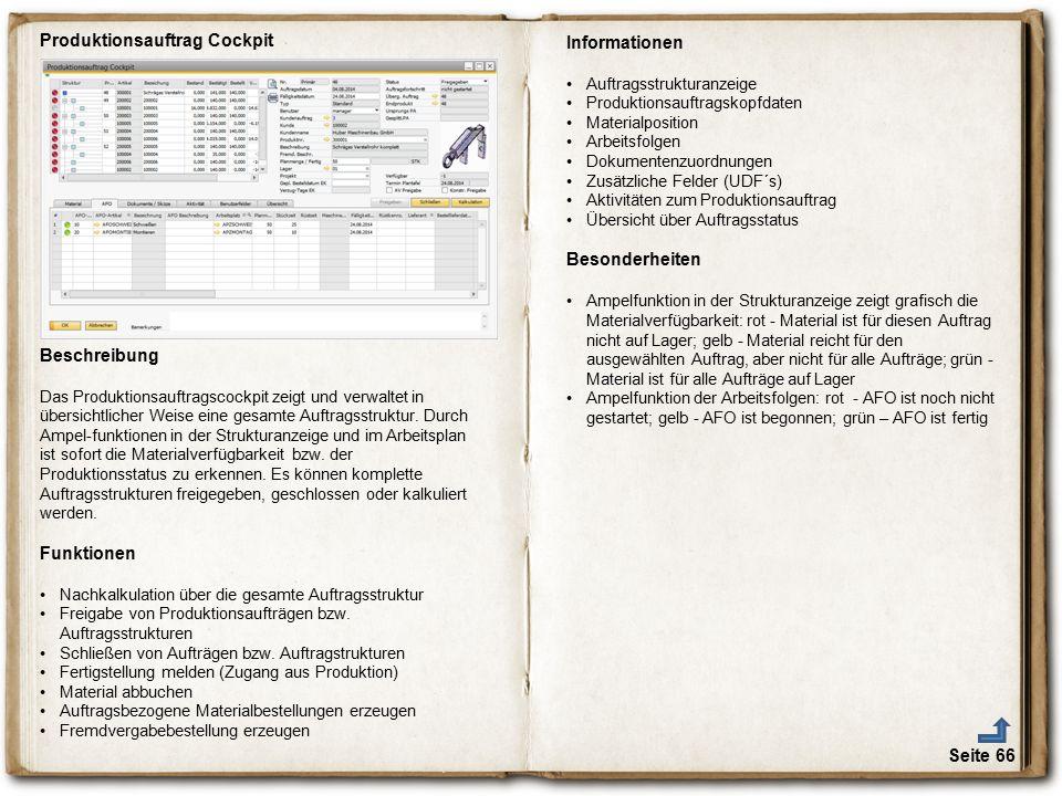 Produktionsauftrag Cockpit Informationen