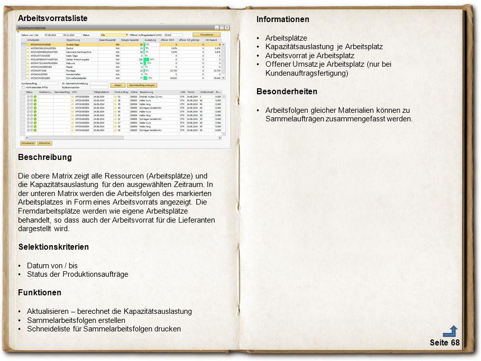 Arbeitsvorratsliste Informationen Besonderheiten Beschreibung