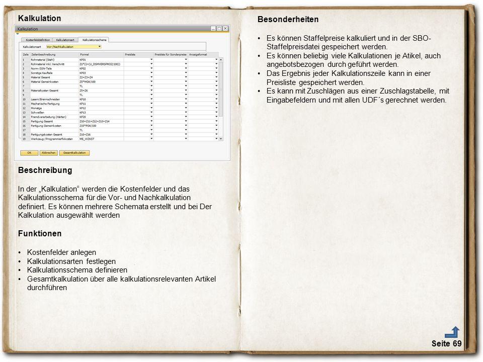 Kalkulation Besonderheiten Beschreibung Funktionen € Seite 69