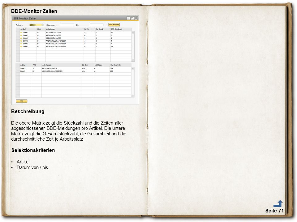 BDE-Monitor Zeiten Beschreibung Selektionskriterien € Seite 71