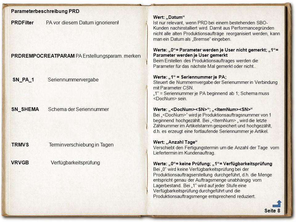 Parameterbeschreibung PRD