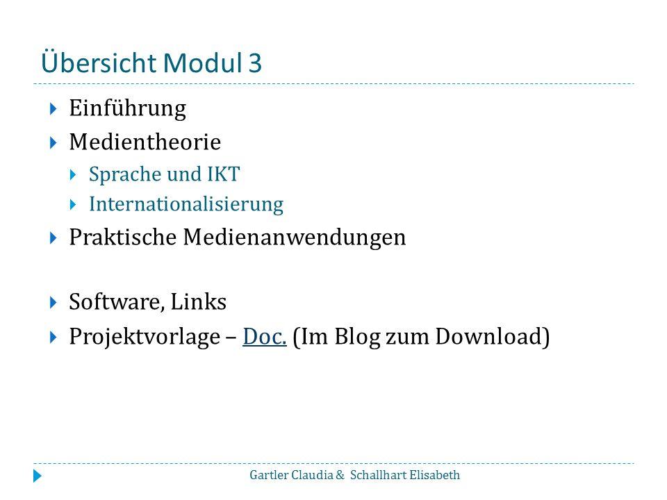 Übersicht Modul 3 Einführung Medientheorie