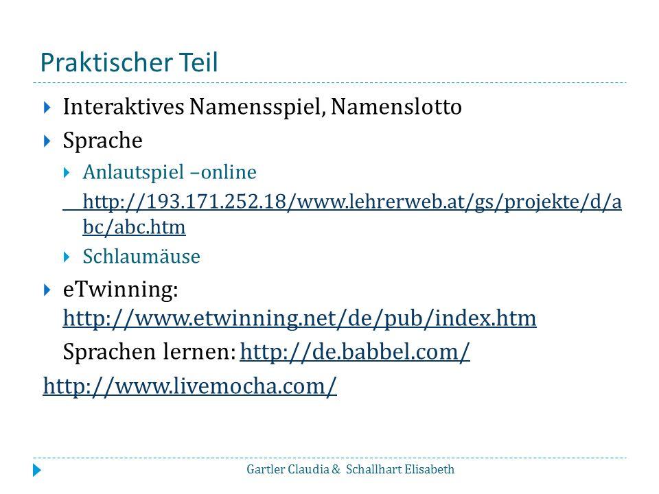 Praktischer Teil Interaktives Namensspiel, Namenslotto Sprache