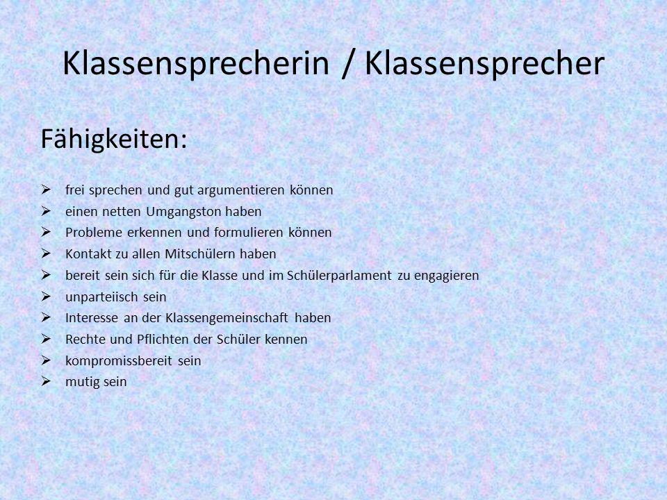 Klassensprecherin / Klassensprecher