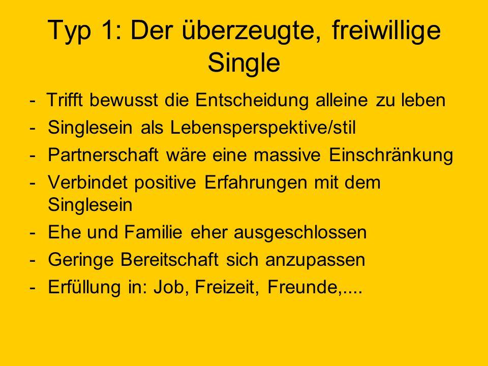 Typ 1: Der überzeugte, freiwillige Single