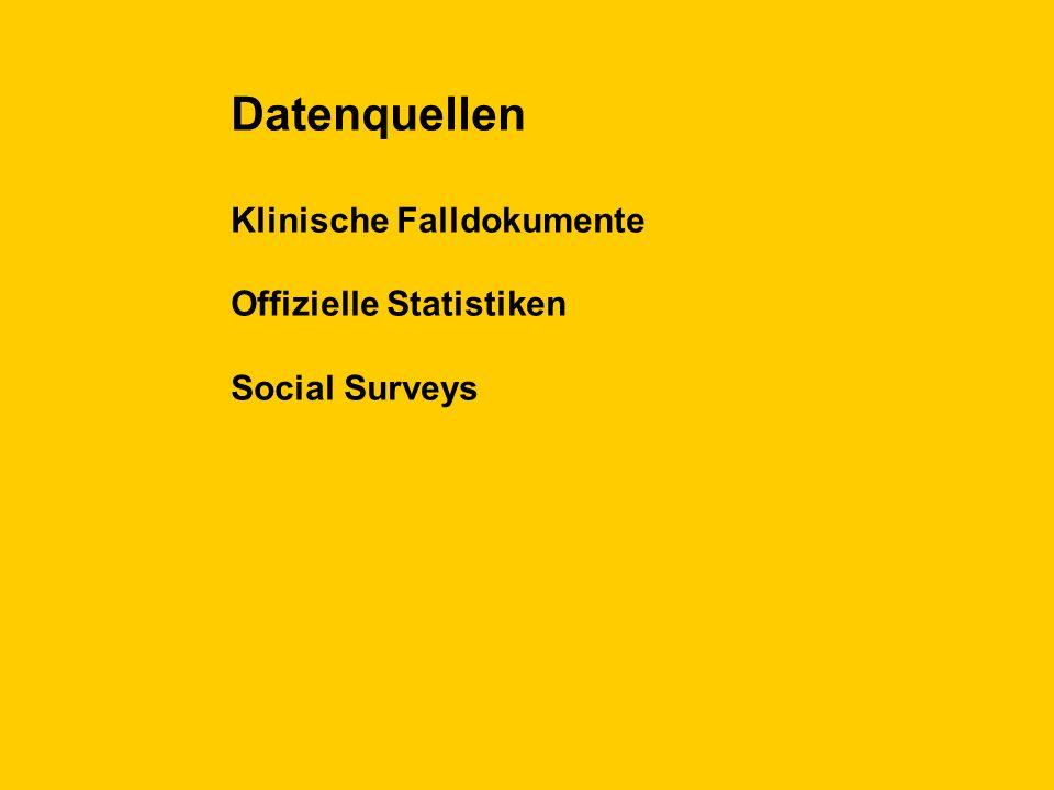 Datenquellen Klinische Falldokumente Offizielle Statistiken